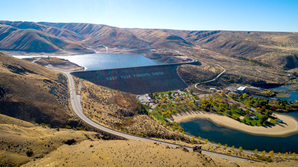 Unique perspective of the Luck Peak Dam on the Boise River in the fall
