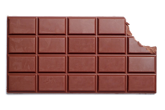 Chocolate bar with the corner bitten off
