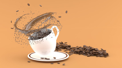 White coffee cup with splash on brown background,coffee cup 3d rendering