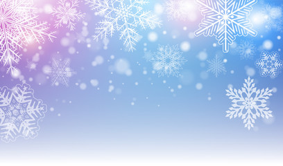 Christmas background with snowflakes and colorful lights, winter vector  background