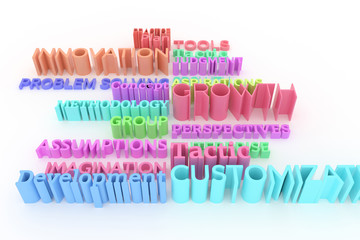 Background abstract CGI typography, business related keywords for design, graphic resource.