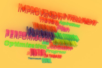 CGI typography, business related keywords for design texture, background. Improvement, measurement, intelligent, warehouse.