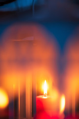 Candle lantern. Selective focus and shallow depth of field.
