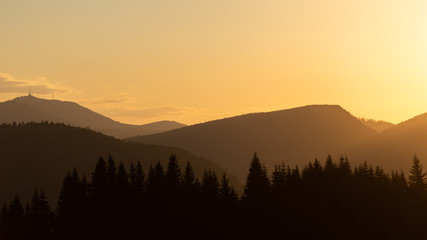 Beautiful sunset in the Romanian mountains during a summer day