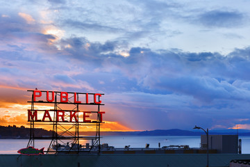 The Pike Place Market  in central Seattle waterfront after sunset. The market is one of most popular tourist place.