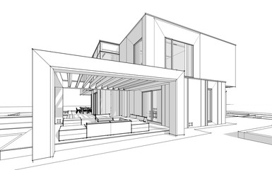 3d rendering sketch of modern cozy house by the river with garage for sale or rent. Black line sketch with soft light shadows on white background