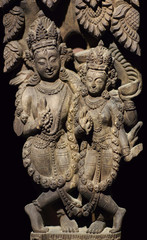 Ancient Nepalese wooden carving with Apsaras at the columns in palace in Patan, Nepal