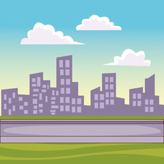 Cityscape scenery cartoon
