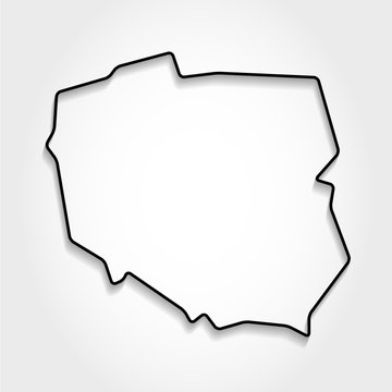 Poland, black outline map