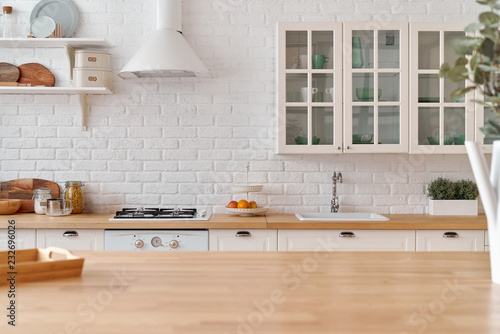 Kitchen Table Kitchen Background Stock Photo And Royalty