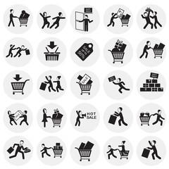 Black friday rush set on circles background icons