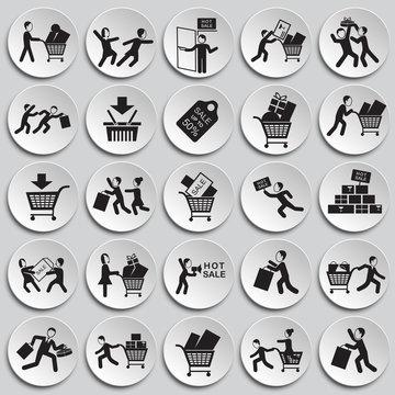 Black friday rush set on plates background icons