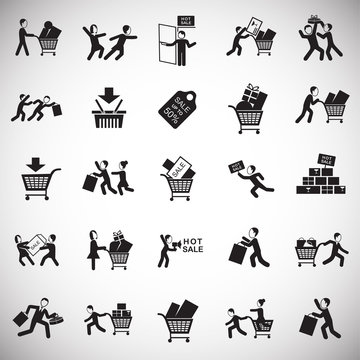 Black friday rush set on white background icons