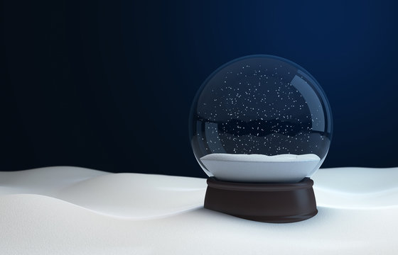 Snow globe at night in the snow. 3D illustration