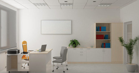 office, interior visualization, 3D illustration