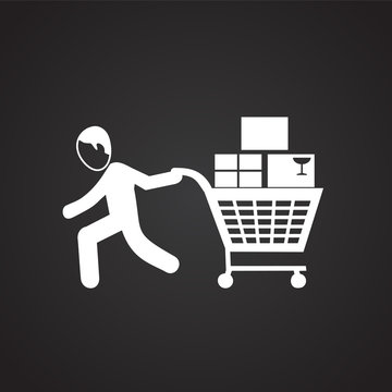 People shopping at sale on black background icon