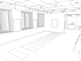 office contour visualization, 3D illustration, sketch, outline