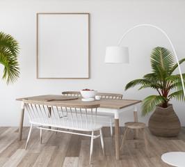 Mock-up poster in tropical living room background, Scandi-boho style, 3d render