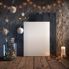 Mock up poster frame in cozy interior background, Christmas decoration, 3D render