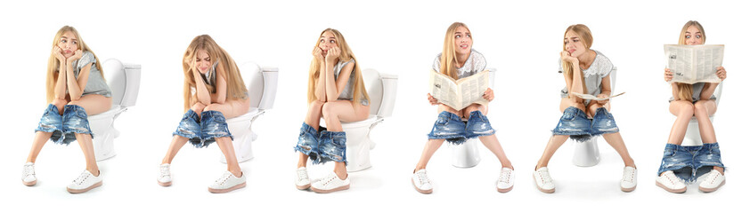 Set with young woman using toilet bowl on white background