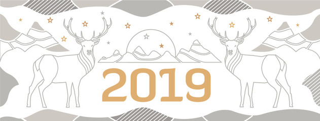 New Year's cover for a site with deer, mountains and number 2018. Sophisticated vector background, drawn by thin lines.