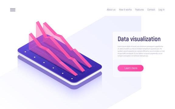 Online analytics, data analysis and visualization isometric concept