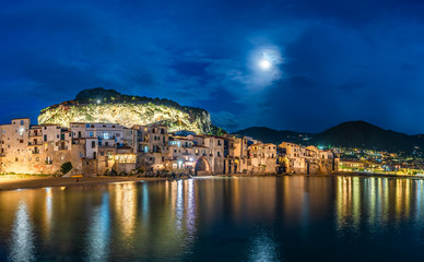 Wall Mural - Cefalu, medieval village of Sicily island at twilight time, Province of Palermo, Italy