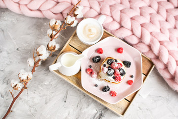 Homemade Pancakes Cappuccino Giant Merino Wool Blanket Pastel Pink Plate Sour Cream Berries Coffee Healthy Breakfast Cotton Flower Morning Concept