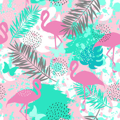 Seamless abstract pattern with pink flamingo. Vector illustration
