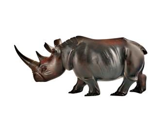 mahogany rhino figure isolated