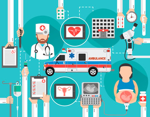 Medical concept modern flat with pregnant woman and ambulance.Vector illustration