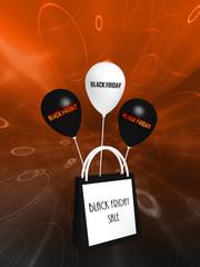 """schwarz-weiße Einkaufstasche und Luftballons mit dem Text """"Black Friday und Sale"""". 3d rendering"""