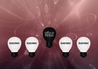 """Glühbirnen mit dem Text """"Black Friday"""" und eine schwarze Glühbirne mit dem Text """"Sale""""."""