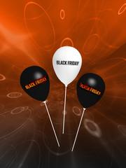 """schwarz-weiße Luftballons mit dem Text """"Black Friday"""". 3d rendering"""