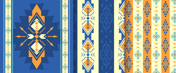 Set of Ethnic seamless patterns. Aztec, native American Indian ornaments.