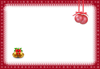 Christmas frame on white background.Christmas card with red balls