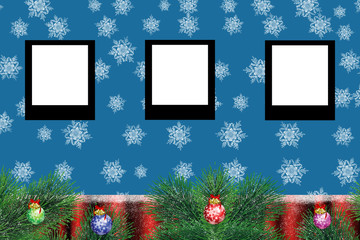 Christmas frame in blue background with stars.Framework for photo or congratulation.