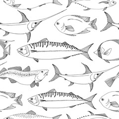 Seamless pattern with different fishes. Sketch vector illustration