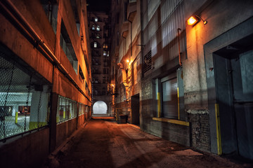 Spoed Foto op Canvas Smal steegje Dark and eerie downtown urban city alley with a loading dock nex