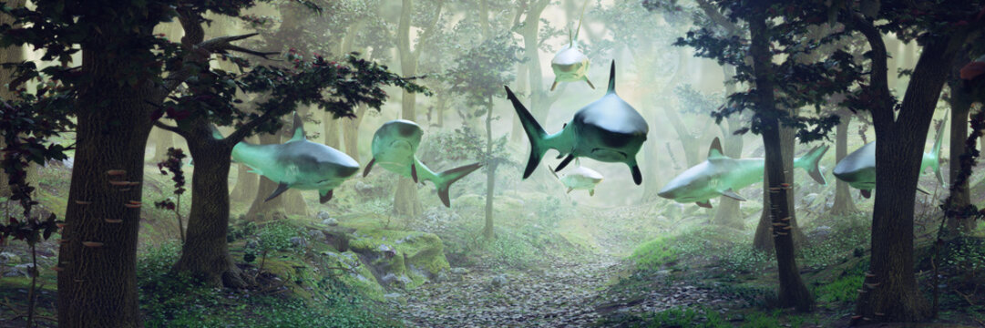 sharks swimming in forest, surrealistic scene with a group of sharks flying in foggy fantasy landscape