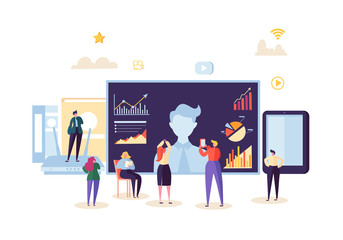 Teleconference Online Communication Concept. Business People at the Video Conference Webinar. Characters on Data Analysis Call Meeting. Vector illustration