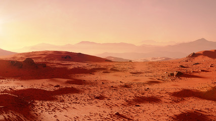 Poster de jardin Brique landscape on planet Mars, scenic desert scene on the red planet (3d space render)