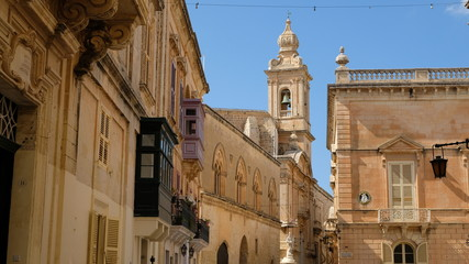 Mdina, Malta. View from St, Paul´s Square. At the center, the tower of the Carmelite Priory. Just at its left, a partial view of Palazzo Santa Sofia. It´s groundfloor was built in the 13th century.