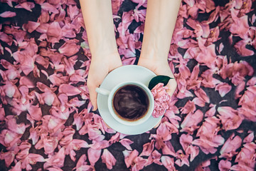Top view woman hands holding cup of coffee and light pink peony flower on saucer above dark background with petals. Cozy breakfast in flat lay style. Love concept. Soft selective focus.