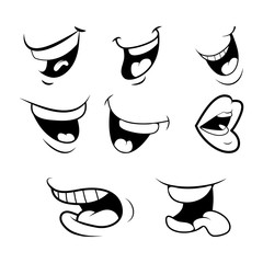 outline Cartoon Mouth Set . Tongue, Smile, Teeth. Expressive Emotions. Simple flat design isolated on white background