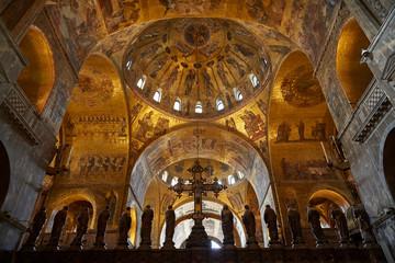 venice san marco marvelous cupola gold mosaic interior Wall mural