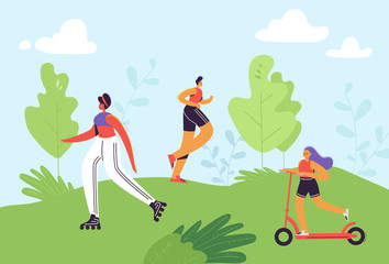Healthy Lifestyle Concept. Active People Excercising in Park. Man Running, Woman Roller Skating, Girl Riding Pushscooter. Outdoor Activities. Vector illustration