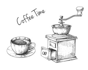 Retro manual coffee grinder or mill and mug with coffee sketch in vintage style