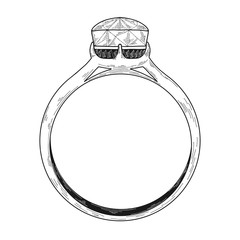 Hand drawn a jewelry ring. Vector illustration of a sketch style.