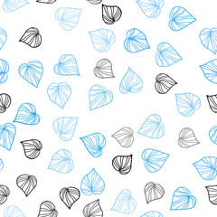 Light BLUE vector seamless natural backdrop with leaves.